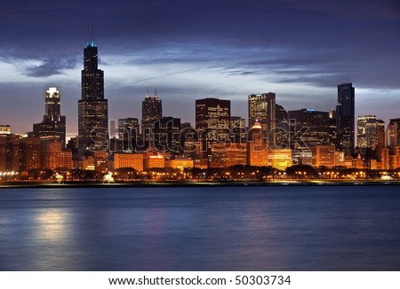 Panoramic image of Chicago skyline at dusk. - stock photo