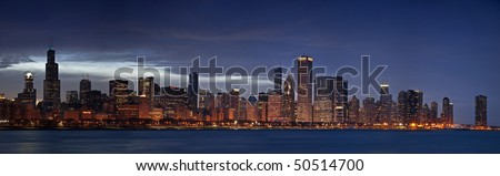 Panoramic image of Chicago skyline at dusk. - stock photo