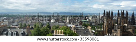 Panoramic image of Edinburgh, looking north, from the Camera Obscura on the Royal Mile - stock photo