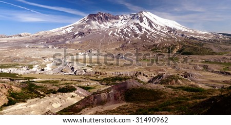 Panoramic image of Mount St. Helens showing miles of barren lands and destroyed landscape caused by the 1980 eruption - stock photo