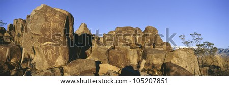 Panoramic image of petroglyphs at Three Rivers Petroglyph National Site, South of Carrizozo, New Mexico - stock photo