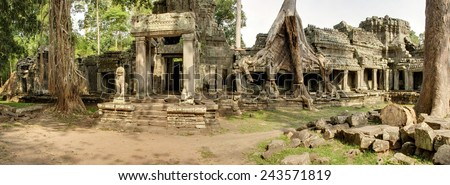Panoramic image of Preah Kahn Temple at Angkor Wat, Cambodia - stock photo