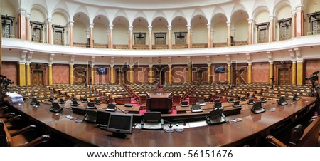 Panoramic image of Serbian parliament assembly hall - stock photo