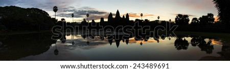 Panoramic image of sunrise over Angkor Wat temple, Cambodia - stock photo