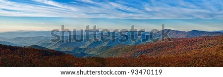 Panoramic image of the autumn color on the Blue Ridge Parkway in North Carolina, USA - stock photo
