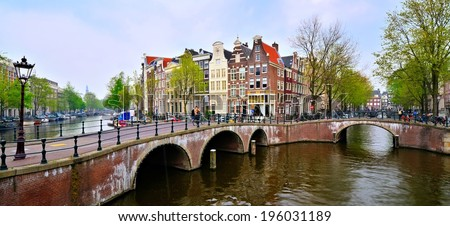 Panoramic image of the canals and bridges of Amsterdam, Netherlands - stock photo