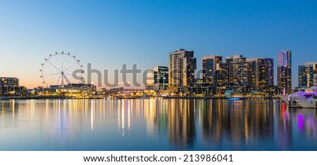 Panoramic image of the docklands waterfront area of Melbourne at night - stock photo