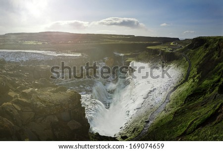 Panoramic Image of the Gulfoss Waterfall, part of the Golden Circle, Iceland - stock photo