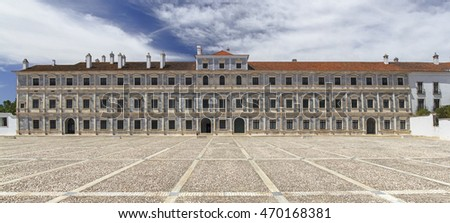 Panoramic image of Vila Vicosa Ducal Palace in Alentejo, Portugal