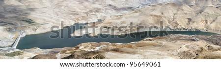 Panoramic image of Wadi Al Mujib in Jordan - stock photo