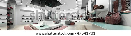 panoramic interior of a shop - stock photo