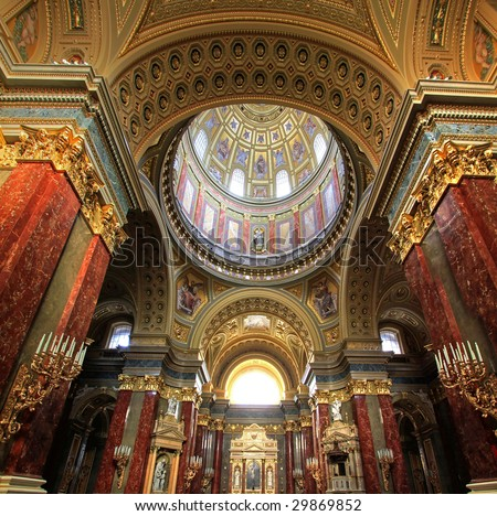 Panoramic interior view of the largest Hungarian church, St Stephen Basilica, Budapest - stock photo