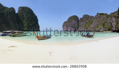 Panoramic Lagoon in Thailand, Phi Phi islands - stock photo