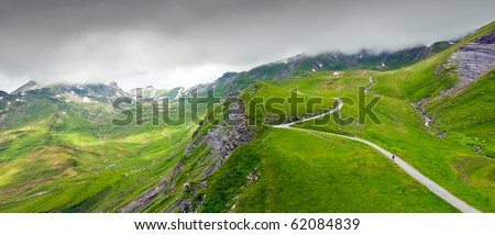 Panoramic landscape in Bernese Alps, Grindelwald - Switzerland - stock photo