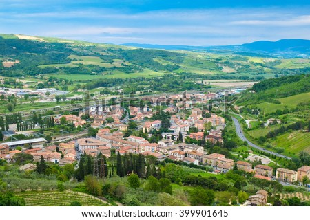 Panoramic landscape near the town of Orvieto Umbria Italy - stock photo