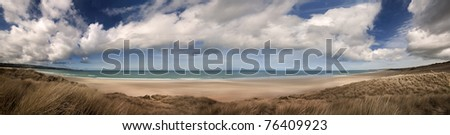 Panoramic landscape of a beach in cornwall england