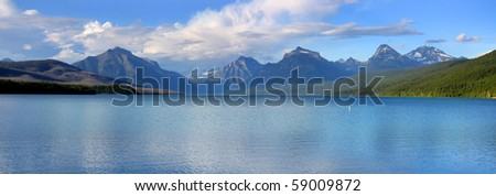 Panoramic landscape of Lake McDonald in Glacier national park - stock photo