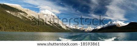 Panoramic landscape of Maligne Lake in Jasper National Park - stock photo