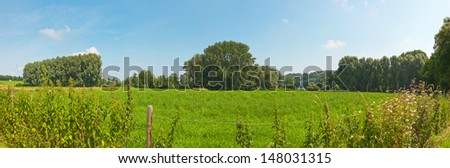 Panoramic landscape of meadow and trees with blue cloudy sky. Zuid Limburg. The Netherlands. - stock photo