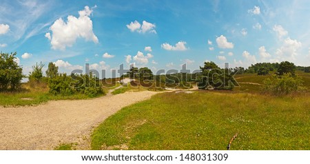 Panoramic landscape of meadow with path and trees with blue cloudy sky. Zuid Limburg. The Netherlands. - stock photo