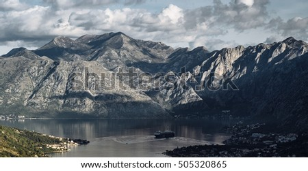 Panoramic landscape of mountain ridge and Kotor bay. Lovcen National Park. Montenegro. View from the top of the mountain.