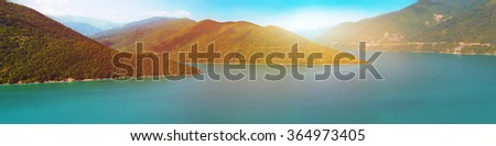 Panoramic landscape of river in Georgia on sunset - stock photo