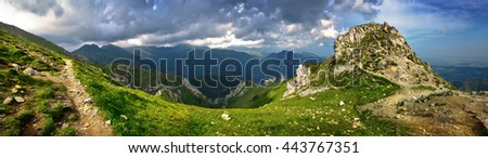 Panoramic landscape of Tatra high mountains peaks