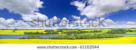 Panoramic landscape prairie view of canola field and lake in Saskatchewan, Canada - stock photo