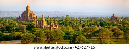 Panoramic landscape view of beautiful old temples in Bagan, Myanmar (Burma) - stock photo