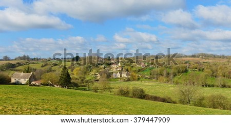Panoramic Landscape View of Green Fields Surrounding the Village Tellisford in the Frome Valley on the Somerset Wiltshire Border Near the City of Bath in England - stock photo