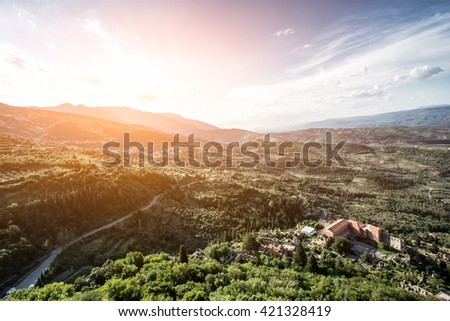 Panoramic landscape view on Mystras cloister  in Sparta, Laconia, Greece - stock photo