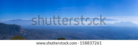 Panoramic landscape with sky blue - stock photo