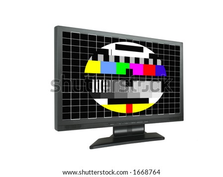 panoramic lcd with test screen - stock photo
