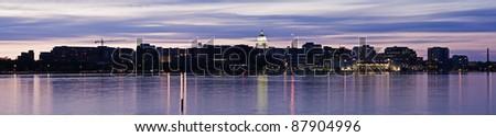 Panoramic Madison, Wisconsin. Downtown seen accross Lake Monona. - stock photo