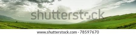 Panoramic mountain landscape - stock photo