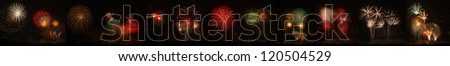 Panoramic New Year Fireworks - stock photo