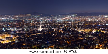 Panoramic night view of Athens from Lycabettus hill - stock photo
