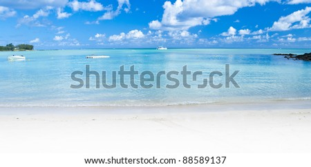 Panoramic Ocean view in the paradise island of Mauritius - stock photo