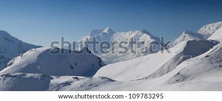 Panoramic of Annapurna Range, Nepal. - stock photo