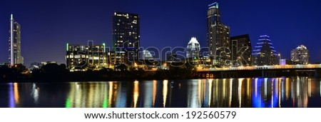 Panoramic of Downtown Austin at Dusk - stock photo