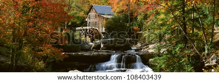 Panoramic of Glade Creek Grist Mill in Babcock State Park, West Virginia - stock photo