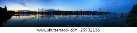 Panoramic of Hood Canal just after sunset - stock photo