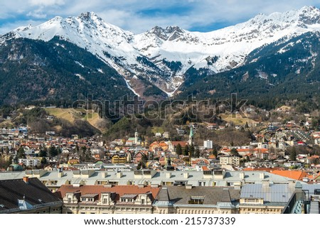 Panoramic of Innsbruck, Tyrol, Austria - stock photo
