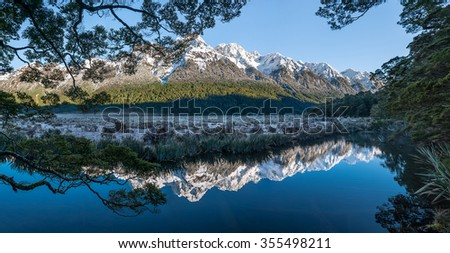 Panoramic of Mirror Lakes, New Zealand. - stock photo