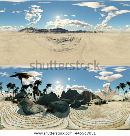 panoramic of palms in desert. made with the One 360 degree lense camera without any seams. ready for virtual reality