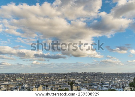 Panoramic of Paris from Sacre-Coeur, France