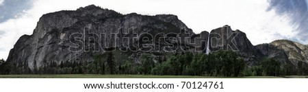 Panoramic of rock formations in Yosemite Valley