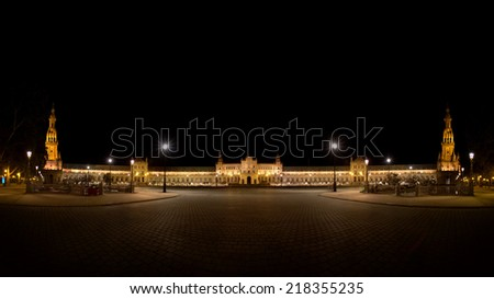 Panoramic of Spanish Square (Plaza de Espana) in Sevilla at night, Spain - stock photo