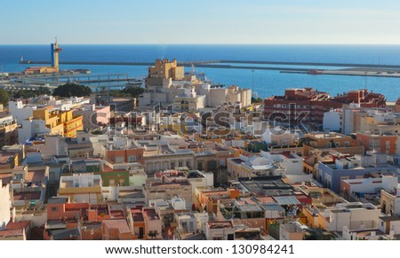 Panoramic of the city of Almeria seen from the Alcazaba  Spain