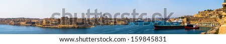 Panoramic of the Grand Harbour of Valleta and fortifications. - stock photo